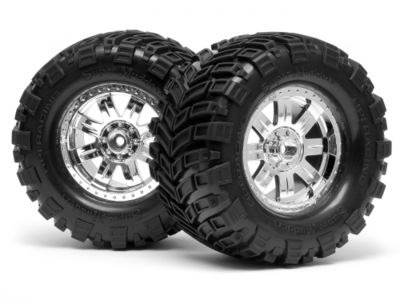 HPI RACING Super Mudders Tyres On Ringz Shiny Chrome Wheels (2) - 4726