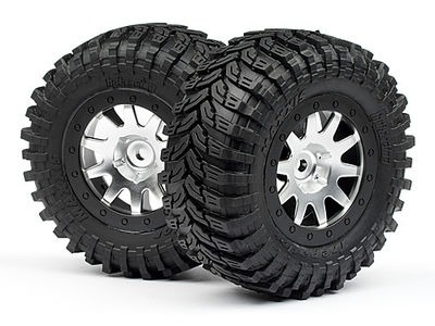 HPI RACING Mounted Maxxis D Tires/Mk.10 Wheel (Matte Chrome/2Pcs) - 103336