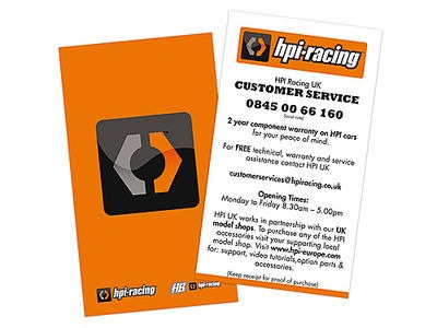 HPI RACING Uk Customer Service Business Card (20Pcs) - 107235