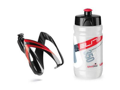 ELITE Ceo youth bottle kit includes cage and 66 mm, 350 ml bottle Youth Bottle kit includes cage & 350 ml bottle Red Detail  click to zoom image