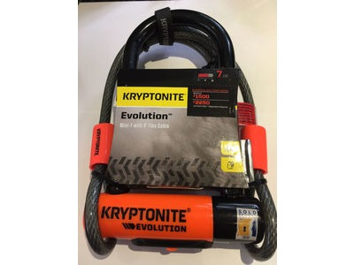 KRYPTONITE Evolution Mini 7 Dead Bolt D-Lock & 4 foot kryptoflex cable