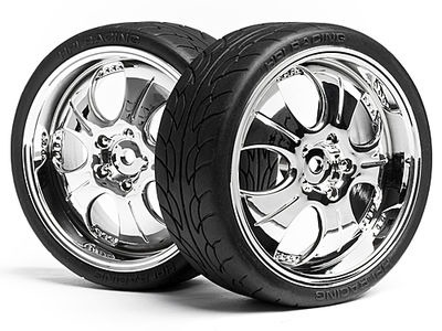 HPI RACING Mounted Super Low Tread Tire (Chrome/4Pcs) - 4721