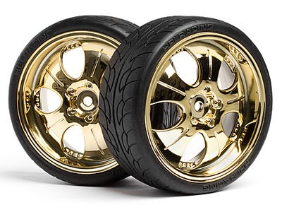 HPI RACING Mounted Super Low Tread Tire (Gold/4Pcs) - 4723