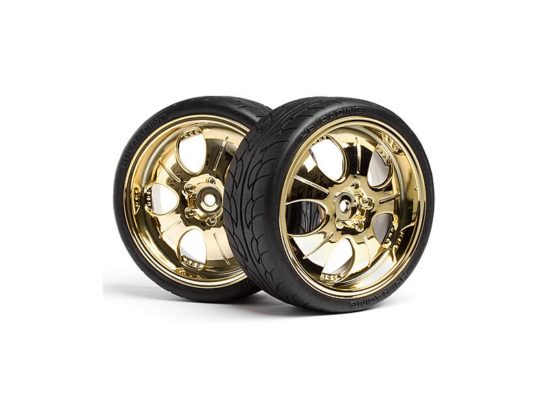 HPI RACING Mounted Super Low Tread Tire (Gold/4Pcs) - 4723 click to zoom image