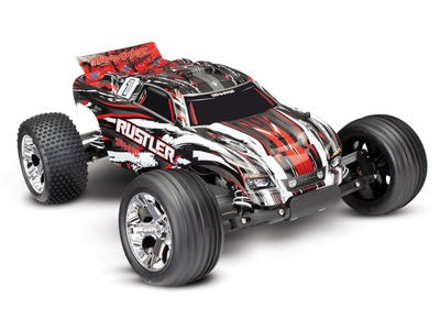 TRAXXAS Rustler XL-5 2WD (TQ/No Batt or Chg) 1/10 scale Red/white/black  click to zoom image