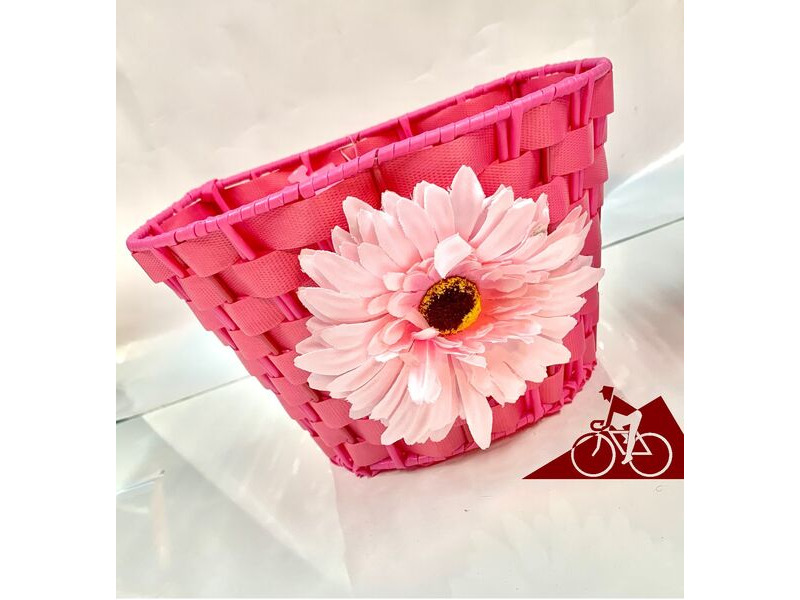 "PREMIER Junior Woven 10"" Plastic Basket with Flower (Colour Option). click to zoom image"