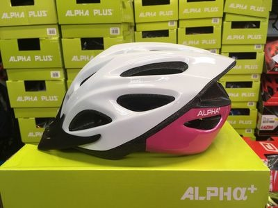 ALPHA PLUS Shadow Cycle Helmet (Size & Colour Options). 54-61cm White/Pink  click to zoom image
