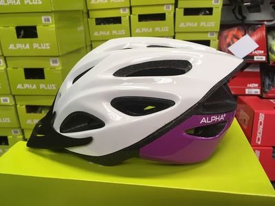 ALPHA PLUS Shadow Cycle Helmet (Size & Colour Options). 54-61cm White/Purple  click to zoom image