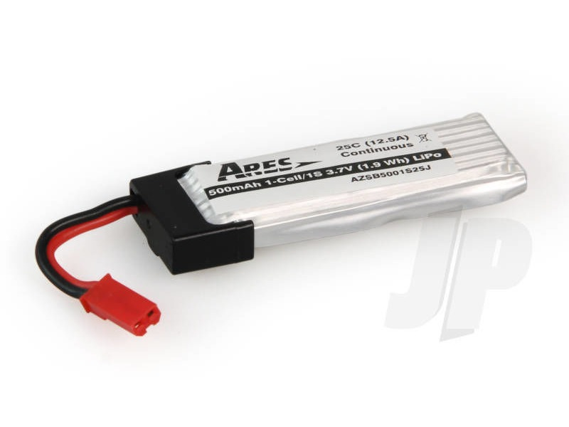 ARES 500mAh 1-Cell/1s 3.7V 25C LiPo Battery, JST Connector: Ethos QX130 click to zoom image